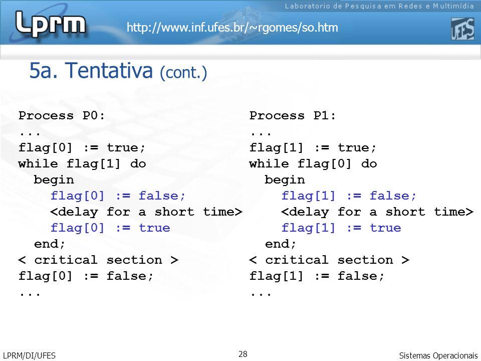 5a. Tentativa (cont.) Process P0: ... flag[0] := true;